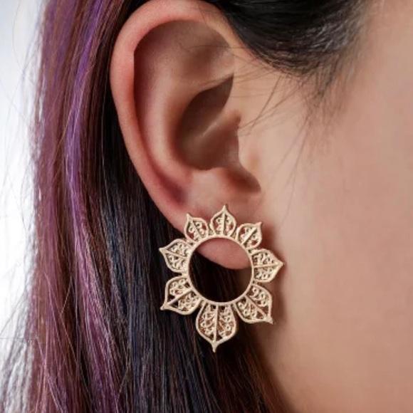 My Added Sparkle Jewelry - 3/$30 Gold Hollow Flower Earrings
